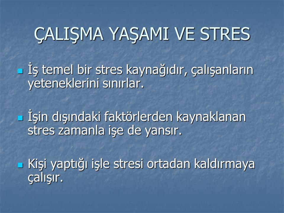 ÇALIŞMA YAŞAMI VE STRES İş temel bir stres kaynağıdır, çalışanların yeteneklerini sınırlar. İş temel bir stres kaynağıdır, çalışanların yeteneklerini