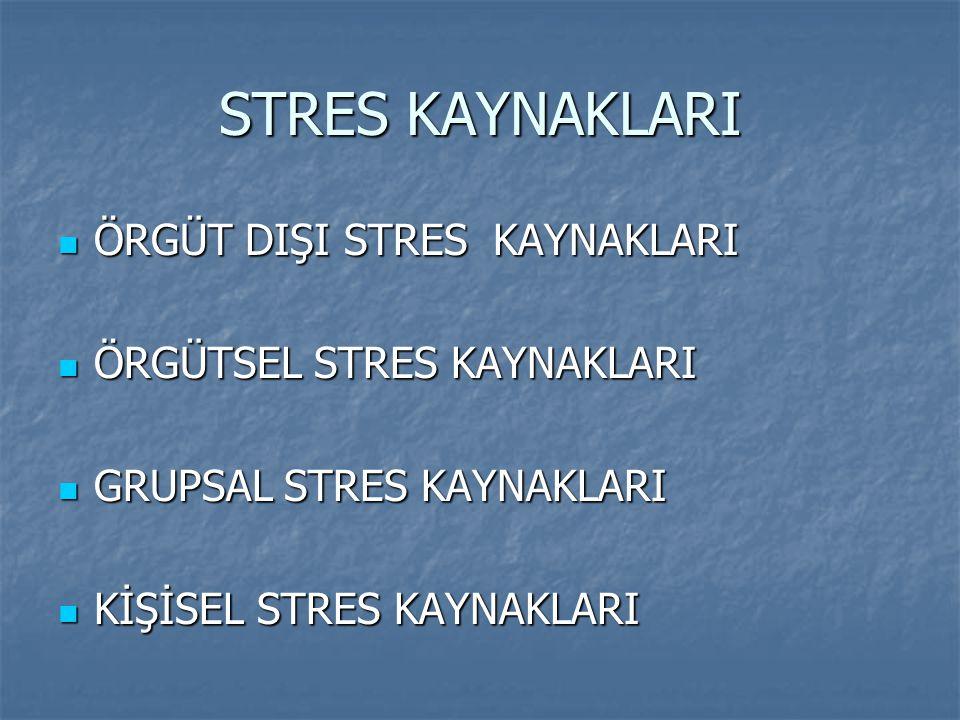 STRES KAYNAKLARI ÖRGÜT DIŞI STRES KAYNAKLARI ÖRGÜT DIŞI STRES KAYNAKLARI ÖRGÜTSEL STRES KAYNAKLARI ÖRGÜTSEL STRES KAYNAKLARI GRUPSAL STRES KAYNAKLARI