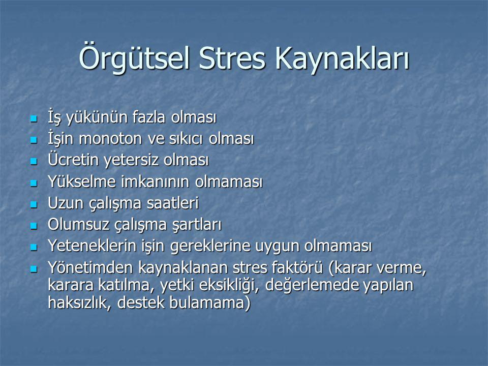 Örgütsel Stres Kaynakları İş yükünün fazla olması İş yükünün fazla olması İşin monoton ve sıkıcı olması İşin monoton ve sıkıcı olması Ücretin yetersiz