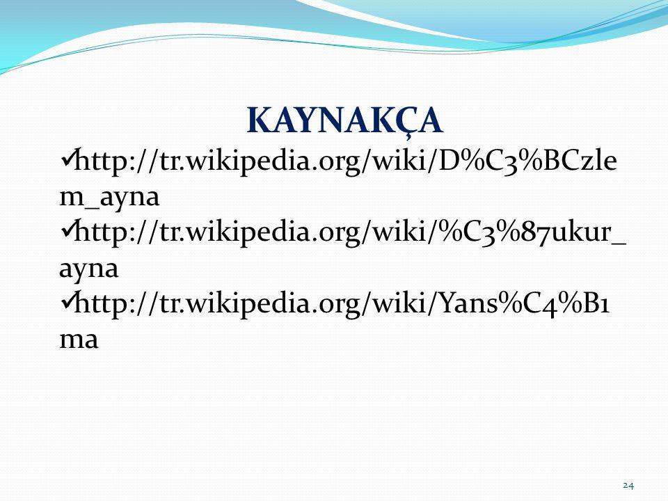 24 KAYNAKÇA http://tr.wikipedia.org/wiki/D%C3%BCzle m_ayna http://tr.wikipedia.org/wiki/%C3%87ukur_ ayna http://tr.wikipedia.org/wiki/Yans%C4%B1 ma
