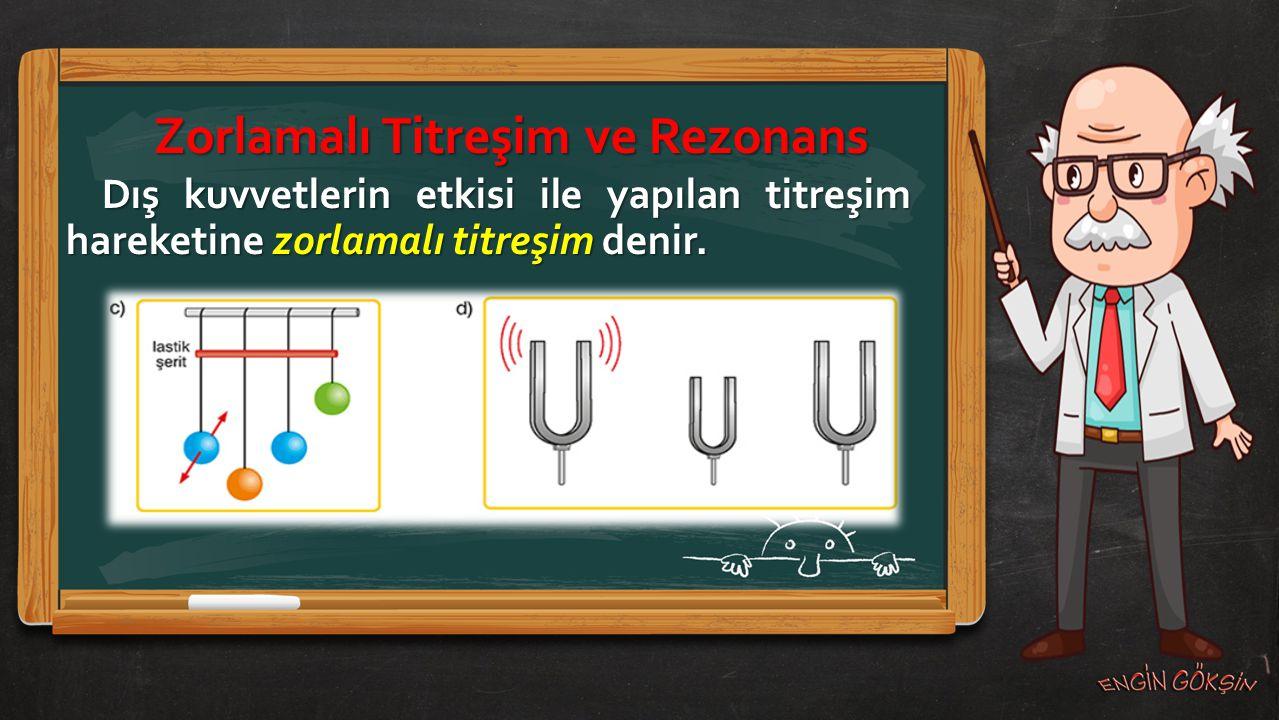 Zorlamalı Titreşim ve Rezonans Doğal frekansında titreşim hareketi yapan bir cisme, eşit frekanslı dış kuvvetlerce yaptırılan zorlamalı titreşim sonucu, artan genlikle yaptırılan titreşim hareketine rezonans denir.