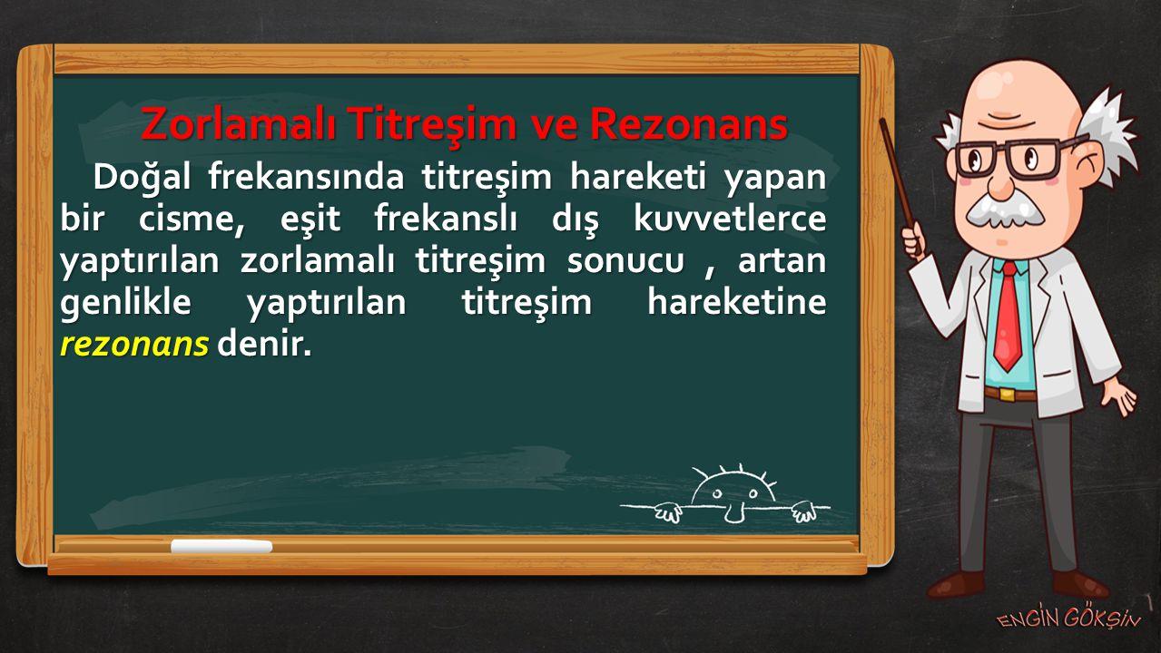 Zorlamalı Titreşim ve Rezonans Doğal frekansında titreşim hareketi yapan bir cisme, eşit frekanslı dış kuvvetlerce yaptırılan zorlamalı titreşim sonuc