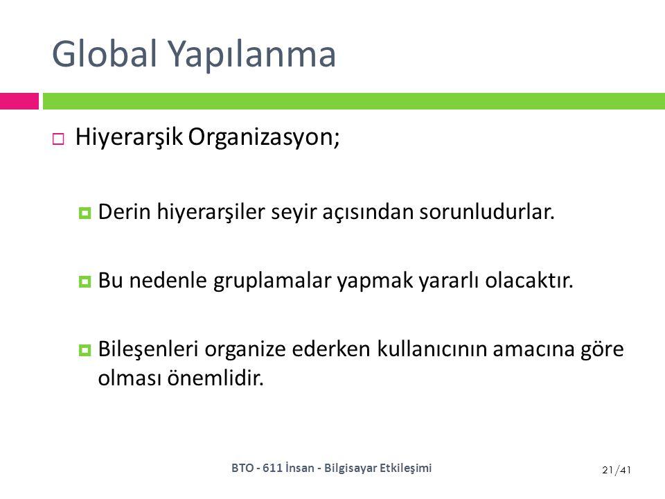 21/41 Global Yapılanma  Hiyerarşik Organizasyon;  Derin hiyerarşiler seyir açısından sorunludurlar.