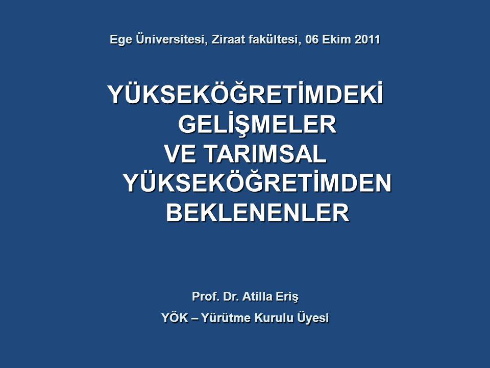 Ege Üniversitesi, Ziraat fakültesi, 06 Ekim 2011 YÜKSEKÖĞRETİMDEKİ GELİŞMELER VE TARIMSAL YÜKSEKÖĞRETİMDEN BEKLENENLER Prof. Dr. Atilla Eriş YÖK – Yür
