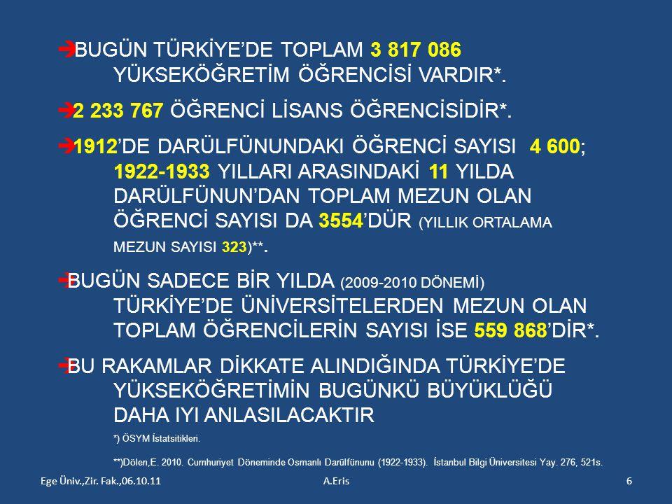 Ege Üniv.,Zir. Fak.,06.10.11A.Eris6  BUGÜN TÜRKİYE'DE TOPLAM 3 817 086 YÜKSEKÖĞRETİM ÖĞRENCİSİ VARDIR*.  2 233 767 ÖĞRENCİ LİSANS ÖĞRENCİSİDİR*.  1