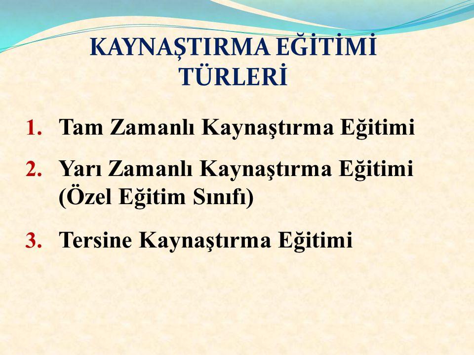 KAYNAŞTIRMA EĞİTİMİ TÜRLERİ 1.Tam Zamanlı Kaynaştırma Eğitimi 2.