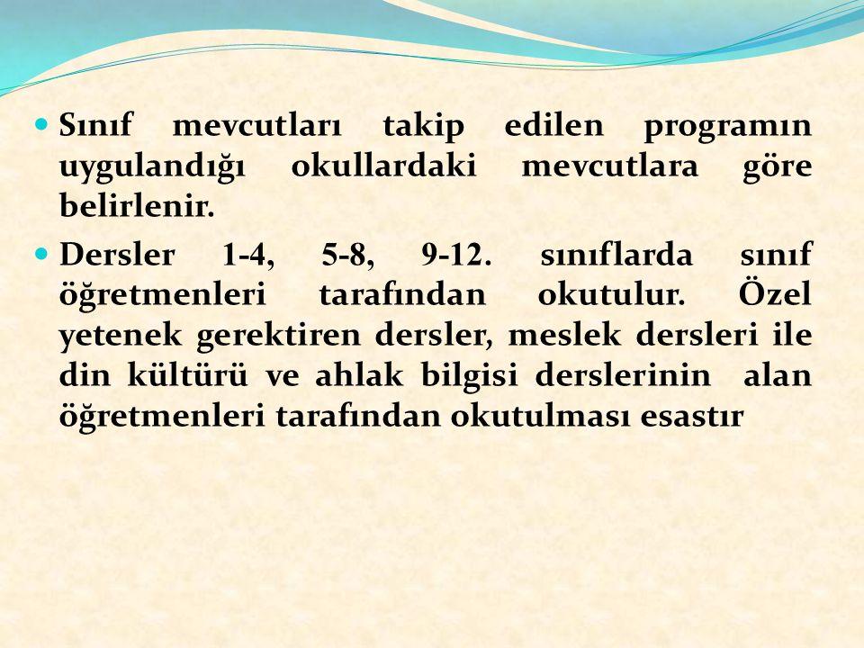Sınıf mevcutları takip edilen programın uygulandığı okullardaki mevcutlara göre belirlenir. Dersler 1-4, 5-8, 9-12. sınıflarda sınıf öğretmenleri tara