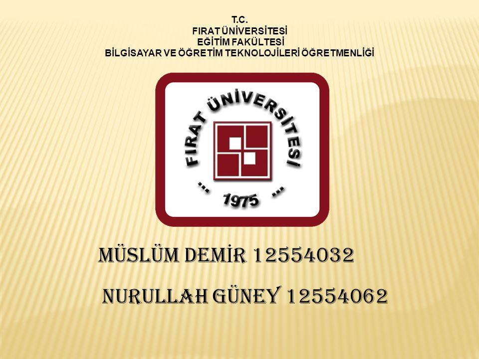 T.C. FIRAT ÜNİVERSİTESİ EĞİTİM FAKÜLTESİ BİLGİSAYAR VE ÖĞRETİM TEKNOLOJİLERİ ÖĞRETMENLİĞİ MÜSLÜM DEM İ R 12554032 NURULLAH GÜNEY 12554062