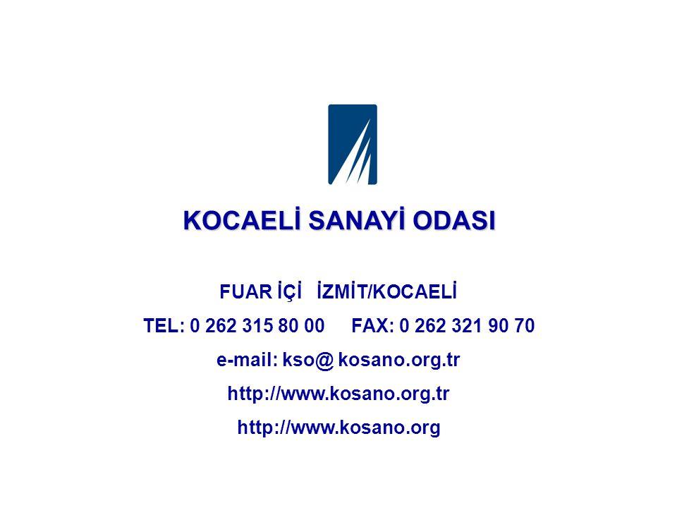 FUAR İÇİ İZMİT/KOCAELİ TEL: 0 262 315 80 00 FAX: 0 262 321 90 70 e-mail: kso@ kosano.org.tr http://www.kosano.org.tr http://www.kosano.org KOCAELİ SANAYİ ODASI