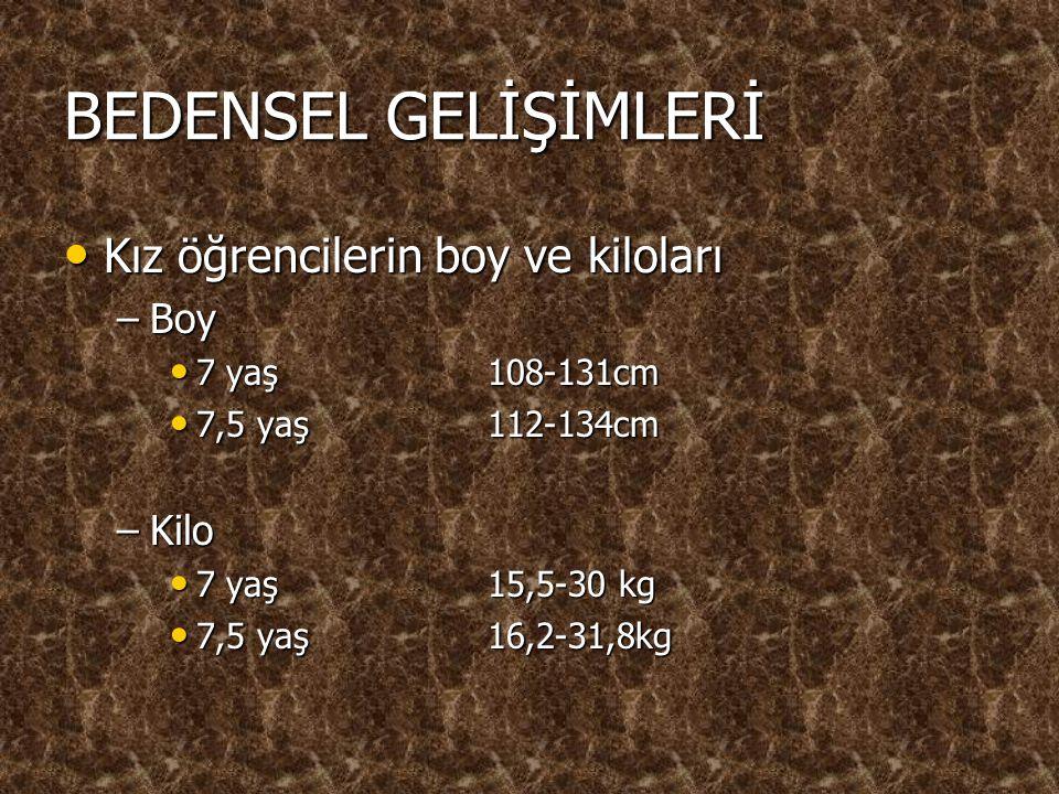 BEDENSEL GELİŞİMLERİ Kız öğrencilerin boy ve kiloları Kız öğrencilerin boy ve kiloları –Boy 7 yaş 108-131cm 7 yaş 108-131cm 7,5 yaş112-134cm 7,5 yaş11
