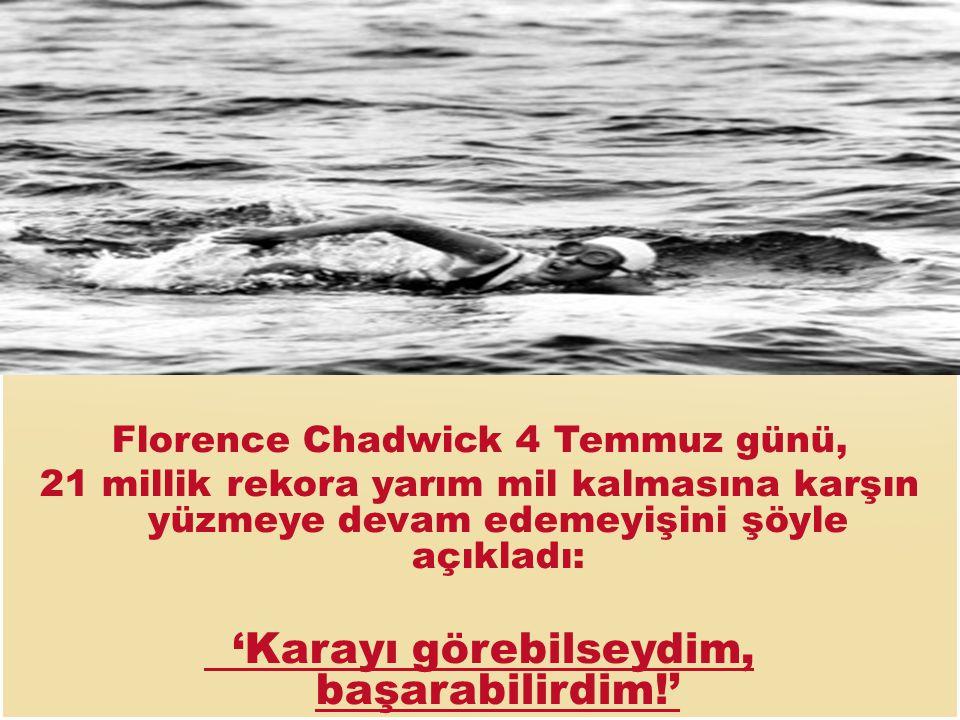 Florence Chadwick 4 Temmuz günü, 21 millik rekora yarım mil kalmasına karşın yüzmeye devam edemeyişini şöyle açıkladı: 'Karayı görebilseydim, başarabilirdim!'