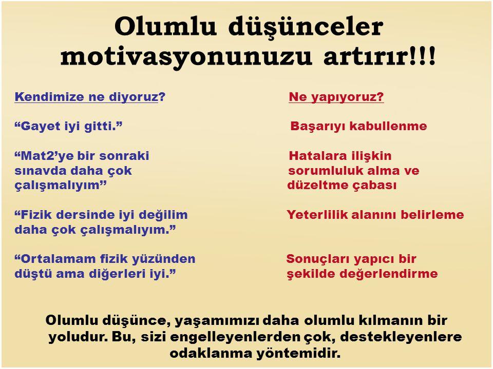 Olumlu düşünceler motivasyonunuzu artırır!!.Kendimize ne diyoruz.