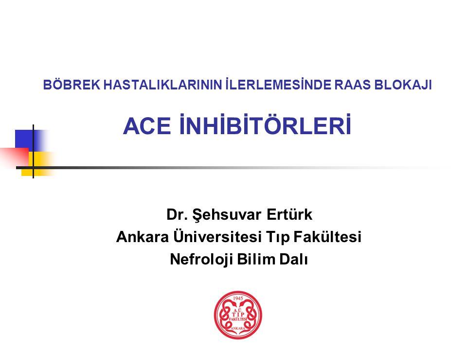 BÖBREK HASTALIKLARININ İLERLEMESİNDE RAAS BLOKAJI ACE İNHİBİTÖRLERİ Dr. Şehsuvar Ertürk Ankara Üniversitesi Tıp Fakültesi Nefroloji Bilim Dalı
