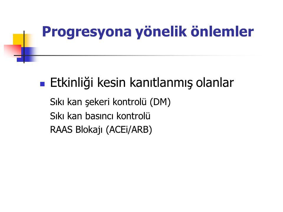 Progresyona yönelik önlemler Etkinliği kesin kanıtlanmış olanlar Sıkı kan şekeri kontrolü (DM) Sıkı kan basıncı kontrolü RAAS Blokajı (ACEi/ARB)