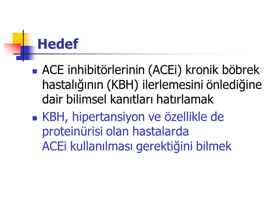 ACEi-klinik uygulamalar-5 AIPRI (ACEi in Progressive Renal Insufficiency) Non-DM KBY; Benazepril/Plasebo 2xKre veya diyaliz gereksinimi %53 azalma Maschio G, et al: N Eng J Med 334:939-945, 1996