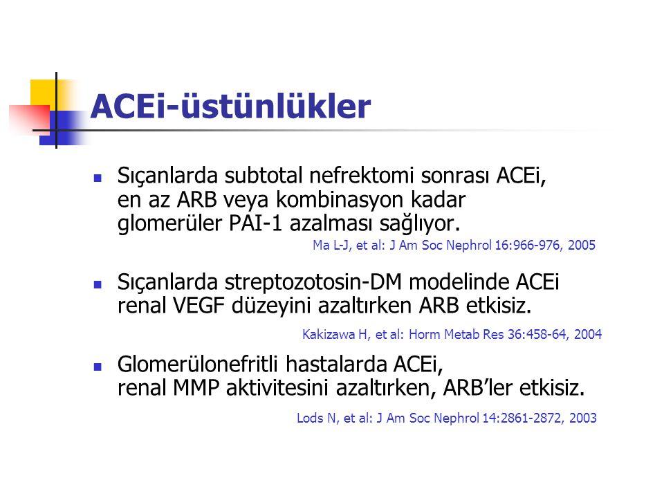 ACEi-üstünlükler Sıçanlarda subtotal nefrektomi sonrası ACEi, en az ARB veya kombinasyon kadar glomerüler PAI-1 azalması sağlıyor. Sıçanlarda streptoz