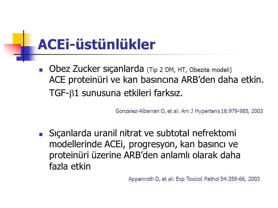 ACEi-üstünlükler Obez Zucker sıçanlarda (Tip 2 DM, HT, Obezite modeli) ACE proteinüri ve kan basıncına ARB'den daha etkin. TGF-  1 sunusuna etkileri