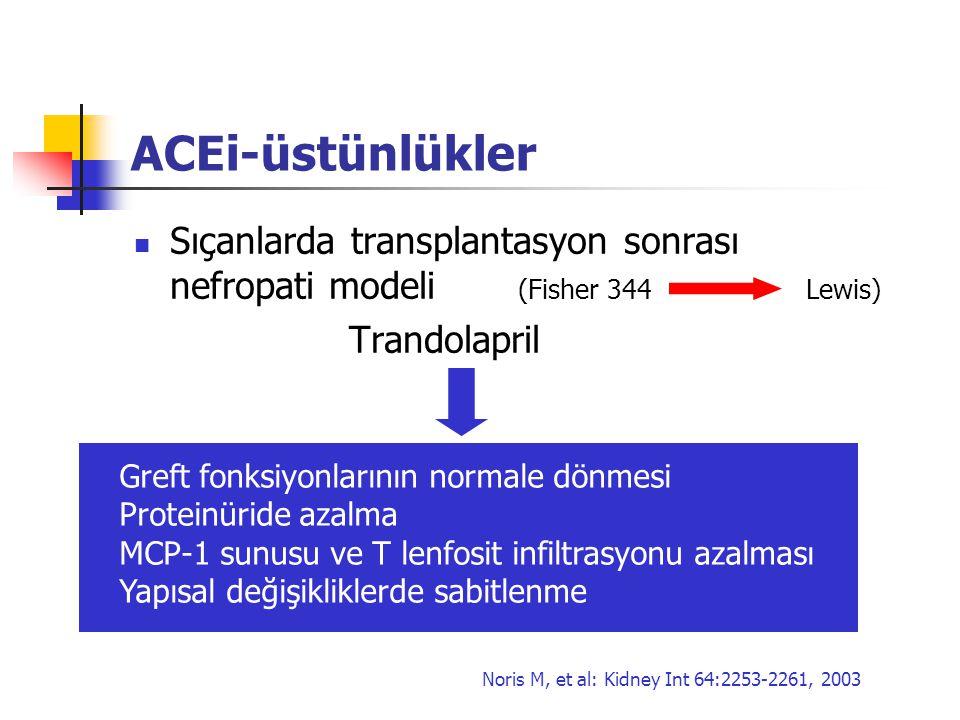 ACEi-üstünlükler Sıçanlarda transplantasyon sonrası nefropati modeli (Fisher 344Lewis) Trandolapril Greft fonksiyonlarının normale dönmesi Proteinürid