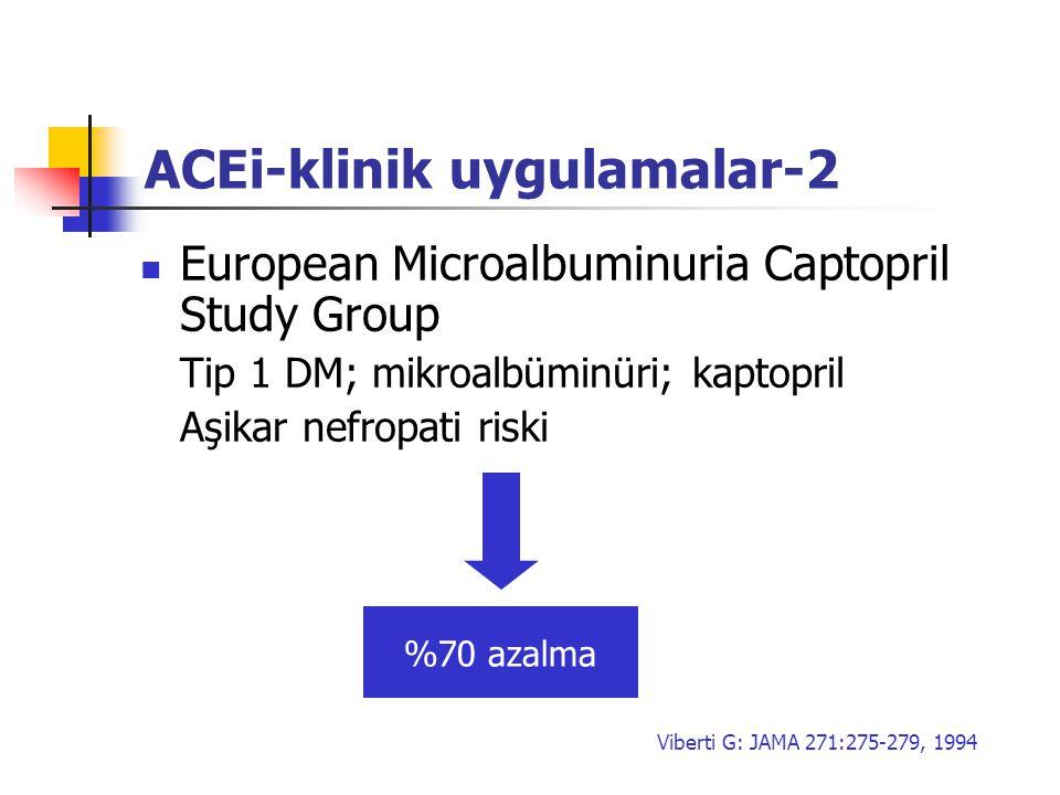 ACEi-klinik uygulamalar-2 European Microalbuminuria Captopril Study Group Tip 1 DM; mikroalbüminüri; kaptopril Aşikar nefropati riski %70 azalma Viber