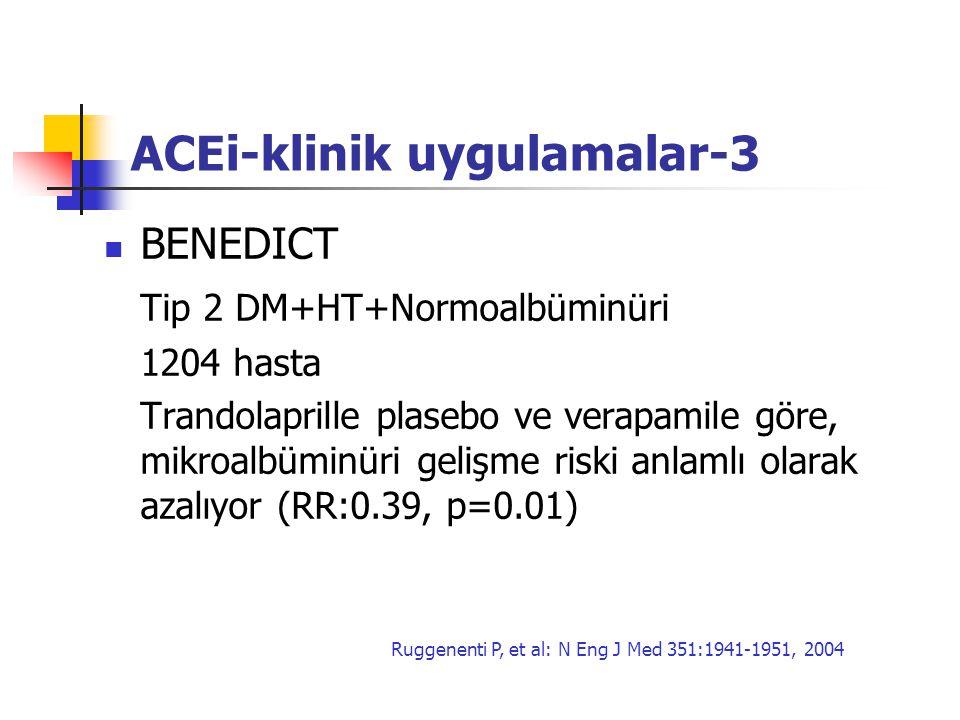 ACEi-klinik uygulamalar-3 BENEDICT Tip 2 DM+HT+Normoalbüminüri 1204 hasta Trandolaprille plasebo ve verapamile göre, mikroalbüminüri gelişme riski anl