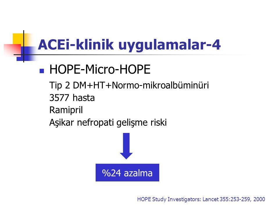 ACEi-klinik uygulamalar-4 HOPE-Micro-HOPE Tip 2 DM+HT+Normo-mikroalbüminüri 3577 hasta Ramipril Aşikar nefropati gelişme riski %24 azalma HOPE Study I