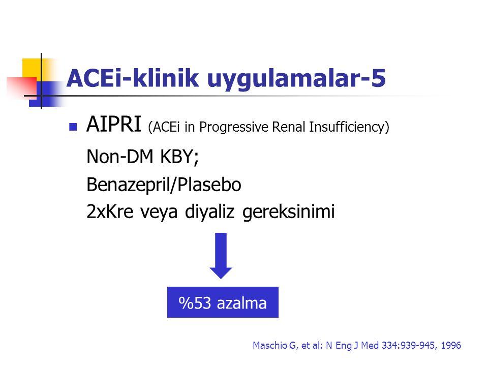 ACEi-klinik uygulamalar-5 AIPRI (ACEi in Progressive Renal Insufficiency) Non-DM KBY; Benazepril/Plasebo 2xKre veya diyaliz gereksinimi %53 azalma Mas