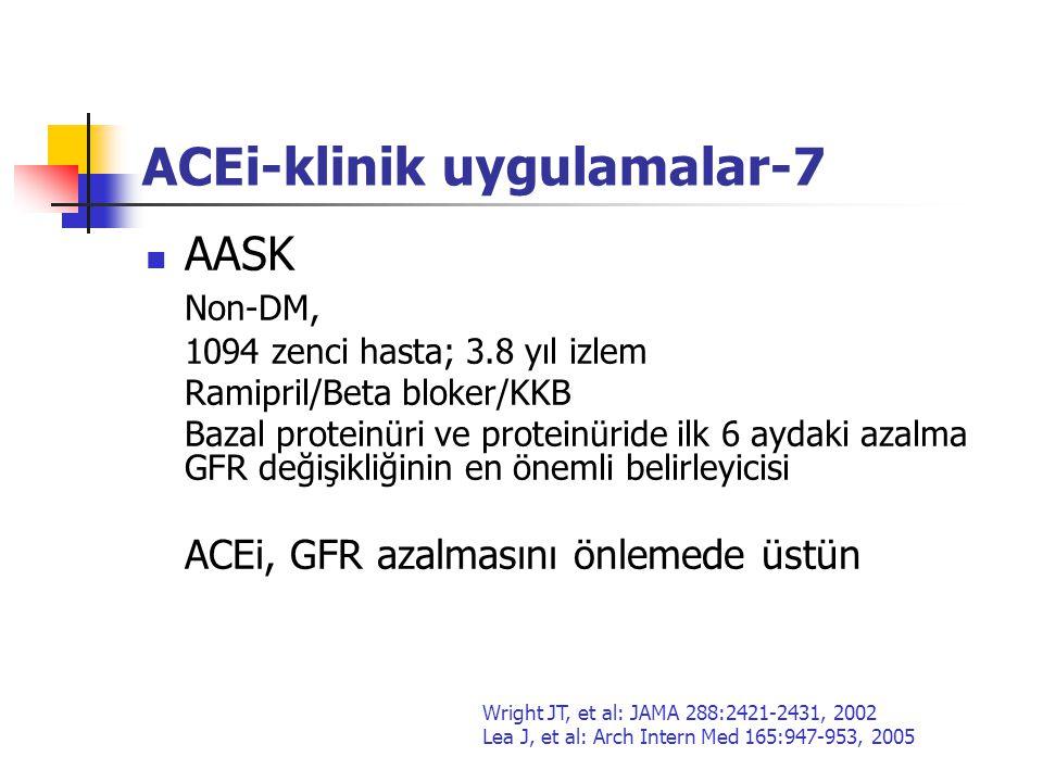 ACEi-klinik uygulamalar-7 AASK Non-DM, 1094 zenci hasta; 3.8 yıl izlem Ramipril/Beta bloker/KKB Bazal proteinüri ve proteinüride ilk 6 aydaki azalma G