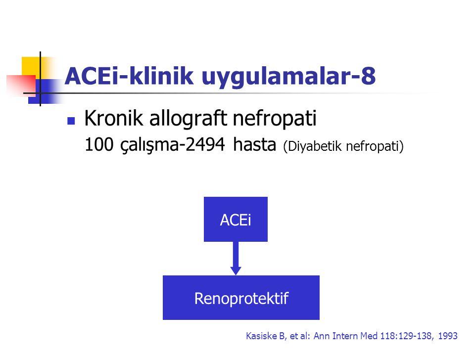 ACEi-klinik uygulamalar-8 Kronik allograft nefropati 100 çalışma-2494 hasta (Diyabetik nefropati) Renoprotektif ACEi Kasiske B, et al: Ann Intern Med