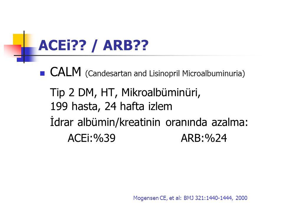 ACEi?? / ARB?? CALM (Candesartan and Lisinopril Microalbuminuria) Tip 2 DM, HT, Mikroalbüminüri, 199 hasta, 24 hafta izlem İdrar albümin/kreatinin ora