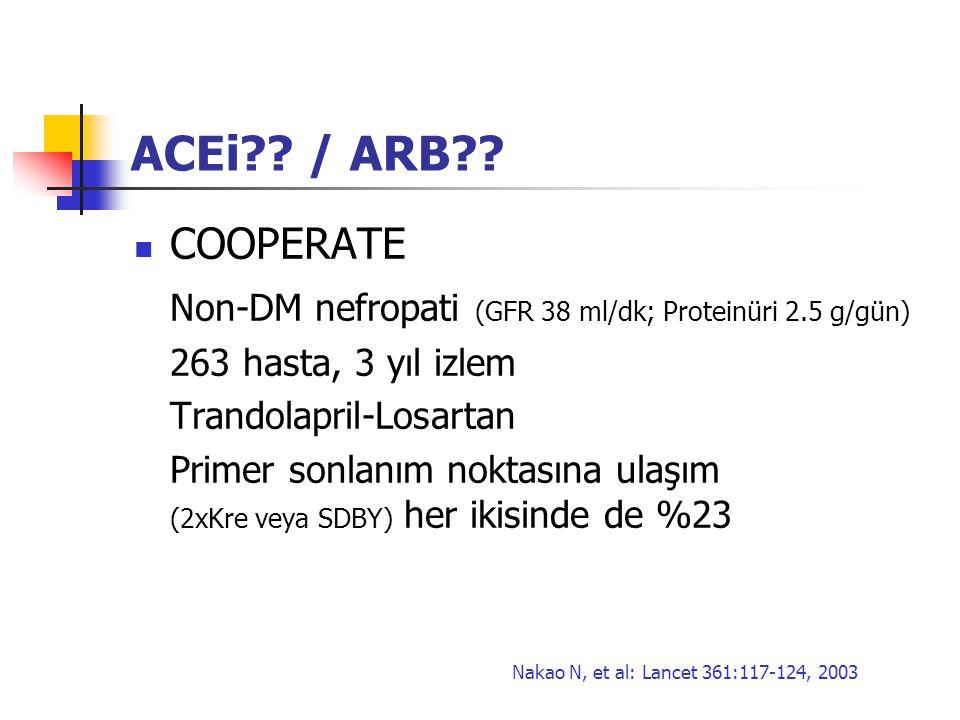 ACEi?? / ARB?? COOPERATE Non-DM nefropati (GFR 38 ml/dk; Proteinüri 2.5 g/gün) 263 hasta, 3 yıl izlem Trandolapril-Losartan Primer sonlanım noktasına