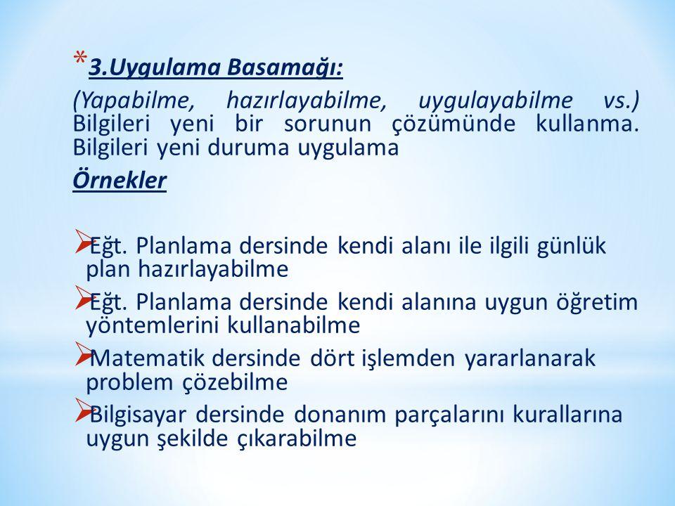 * 3.Uygulama Basamağı: (Yapabilme, hazırlayabilme, uygulayabilme vs.) Bilgileri yeni bir sorunun çözümünde kullanma. Bilgileri yeni duruma uygulama Ör