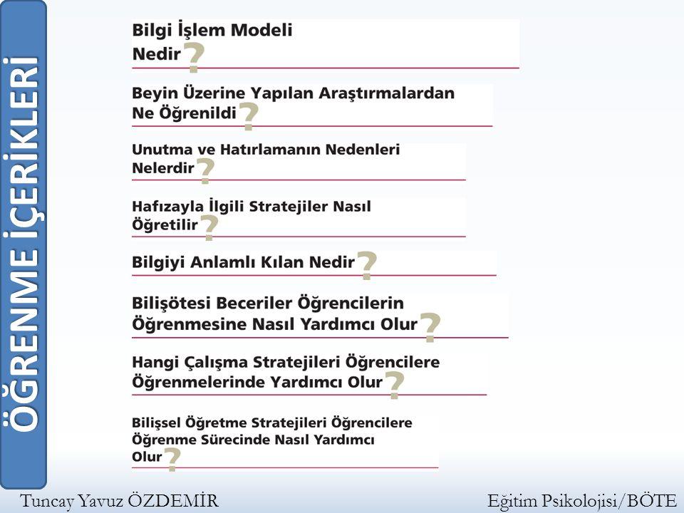 ÖĞRENME İÇERİKLERİ Tuncay Yavuz ÖZDEMİR Eğitim Psikolojisi/BÖTE