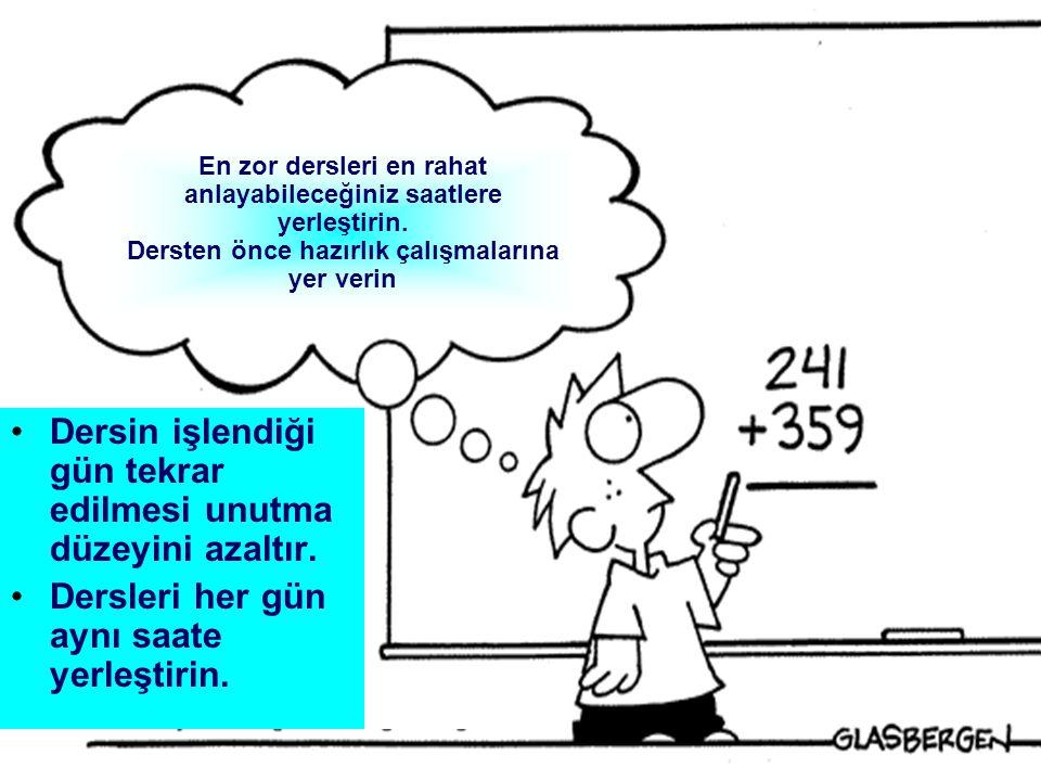 22 1.Ağır değil, esnek bir yapıda olmalıdır.2.Aynı güne ait aynı dersler üst üste konmamalıdır.