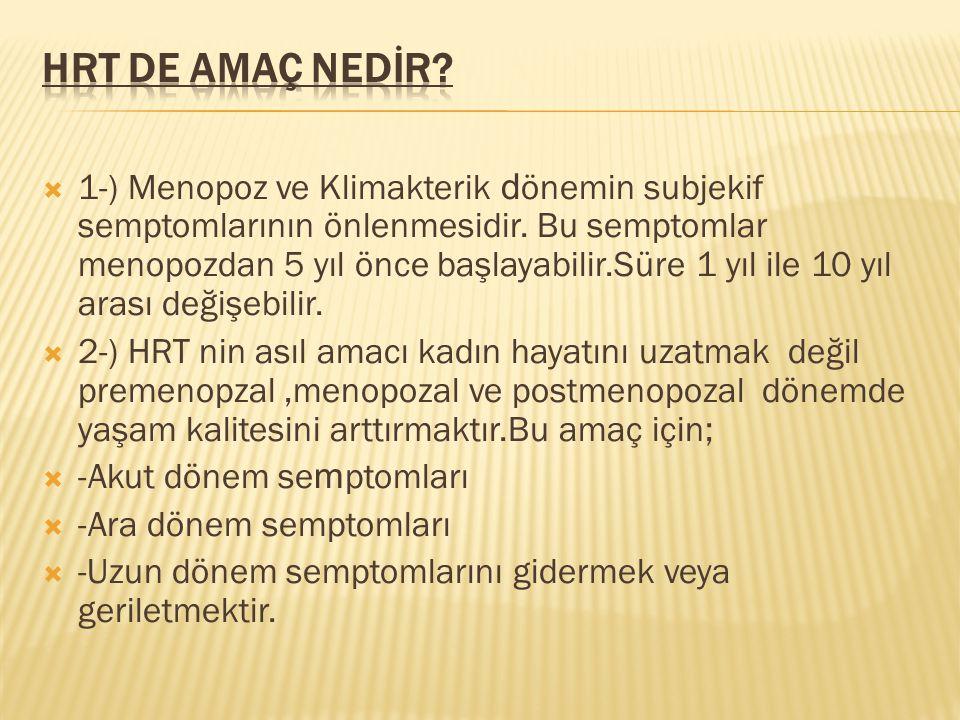  1-) Menopoz ve Klimakterik d önemin subjekif semptomlarının önlenmesidir. Bu semptomlar menopozdan 5 yıl önce başlayabilir.Süre 1 yıl ile 10 yıl ara