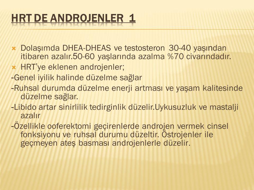  Dolaşımda DHEA-DHEAS ve testosteron 30-40 yaşı n dan itibaren azalır. 5 0-60 yaşlarında azalma %70 civarındadır.  HRT ' ye eklenen androjenler ; -