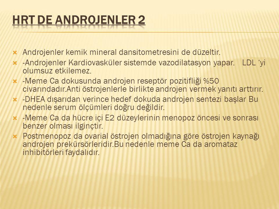  Androjenler kemik mineral dansitometresini de düzeltir.  -Androjenler Kardiovasküler sistemde vazodilatasyon yapar. LDL 'yi olumsuz etkilemez.  -M