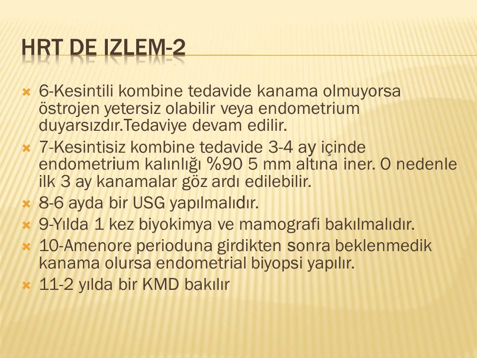  6-Kesintili kombine tedavide kanama olmuyorsa östrojen yetersiz olabilir veya endometrium duyarsızdır.Tedaviye devam edilir.  7-Kesintisiz kombine