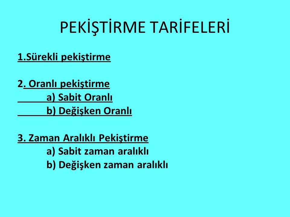 PEKİŞTİRME TARİFELERİ 1.Sürekli pekiştirme 2.
