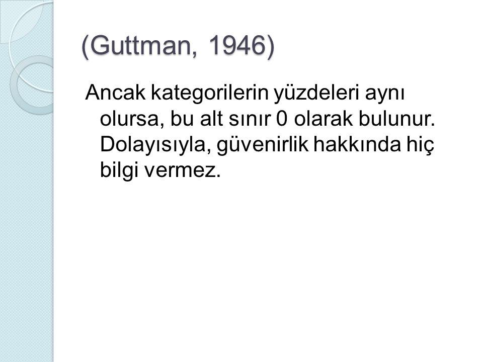 (Guttman, 1946) Ancak kategorilerin yüzdeleri aynı olursa, bu alt sınır 0 olarak bulunur. Dolayısıyla, güvenirlik hakkında hiç bilgi vermez.