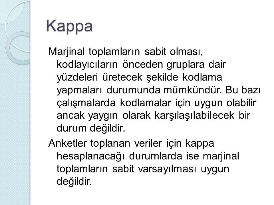 Kappa Marjinal toplamların sabit olması, kodlayıcıların önceden gruplara dair yüzdeleri üretecek şekilde kodlama yapmaları durumunda mümkündür.