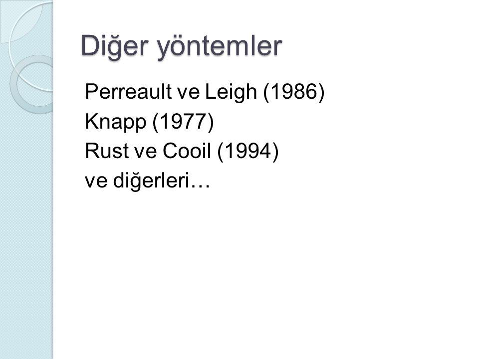 Diğer yöntemler Perreault ve Leigh (1986) Knapp (1977) Rust ve Cooil (1994) ve diğerleri…