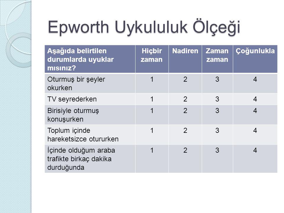 Epworth Uykululuk Ölçeği Aşağıda belirtilen durumlarda uyuklar mısınız? Hiçbir zaman NadirenZaman zaman Çoğunlukla Oturmuş bir şeyler okurken 1234 TV