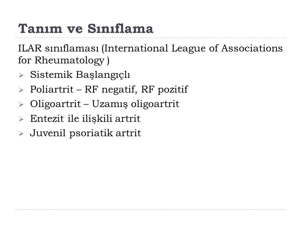 Tanım ve Sınıflama ILAR sınıflaması (International League of Associations for Rheumatology )  Sistemik Başlangıçlı  Poliartrit – RF negatif, RF pozitif  Oligoartrit – Uzamış oligoartrit  Entezit ile ilişkili artrit  Juvenil psoriatik artrit