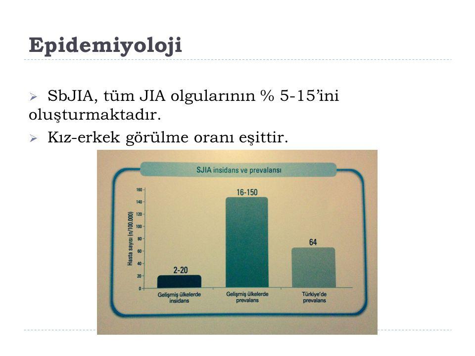 Epidemiyoloji  SbJIA, tüm JIA olgularının % 5-15'ini oluşturmaktadır.