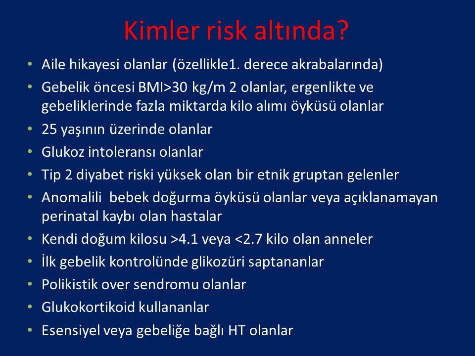 Kimler risk altında? Aile hikayesi olanlar (özellikle1. derece akrabalarında) Gebelik öncesi BMI>30 kg/m 2 olanlar, ergenlikte ve gebeliklerinde fazla
