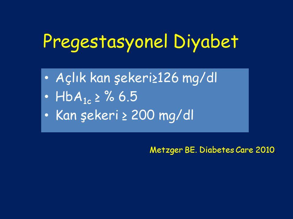 Pregestasyonel Diyabet Açlık kan şekeri≥126 mg/dl HbA 1c ≥ % 6.5 Kan şekeri ≥ 200 mg/dl Metzger BE. Diabetes Care 2010.
