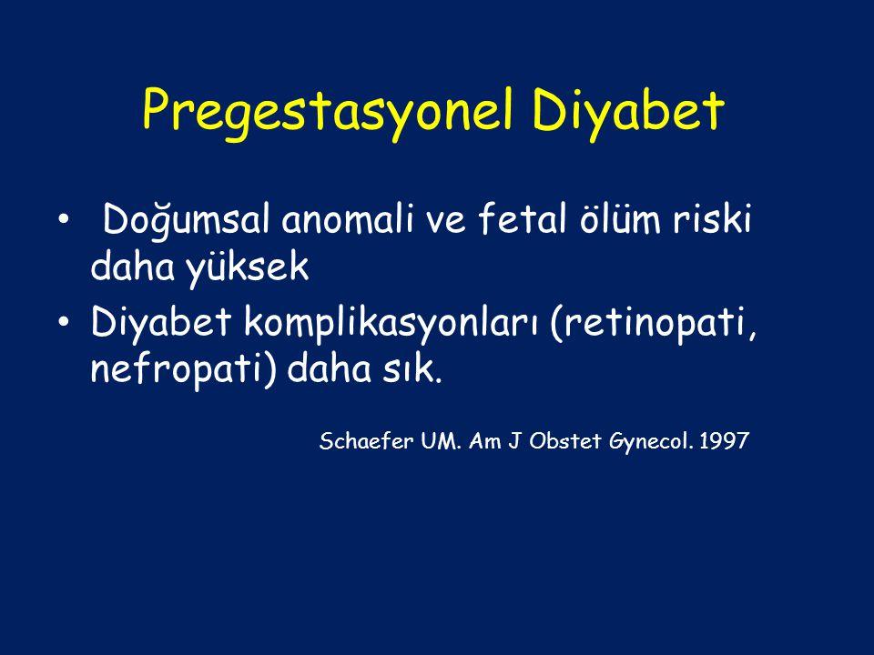 Pregestasyonel Diyabet Doğumsal anomali ve fetal ölüm riski daha yüksek Diyabet komplikasyonları (retinopati, nefropati) daha sık. Schaefer UM. Am J O