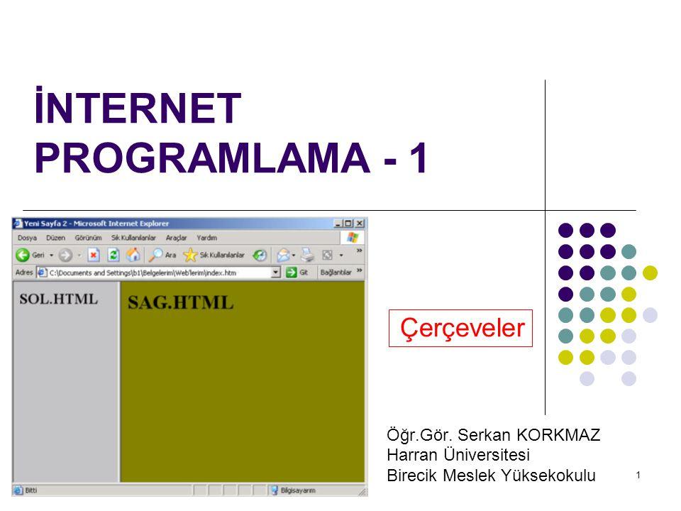 1 İNTERNET PROGRAMLAMA - 1 Çerçeveler Öğr.Gör. Serkan KORKMAZ Harran Üniversitesi Birecik Meslek Yüksekokulu