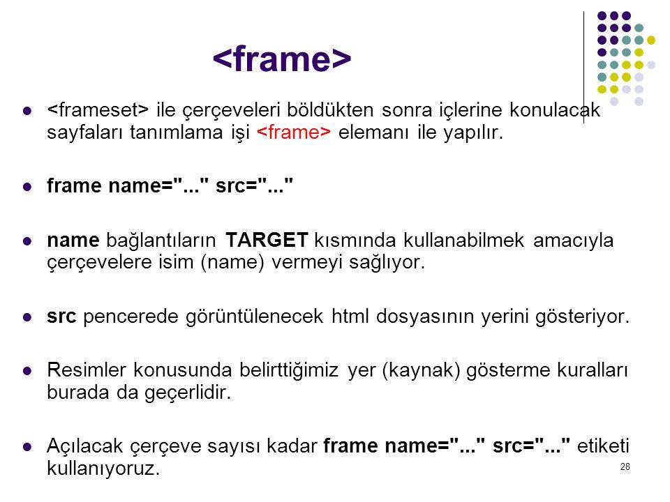 28 ile çerçeveleri böldükten sonra içlerine konulacak sayfaları tanımlama işi elemanı ile yapılır. frame name=