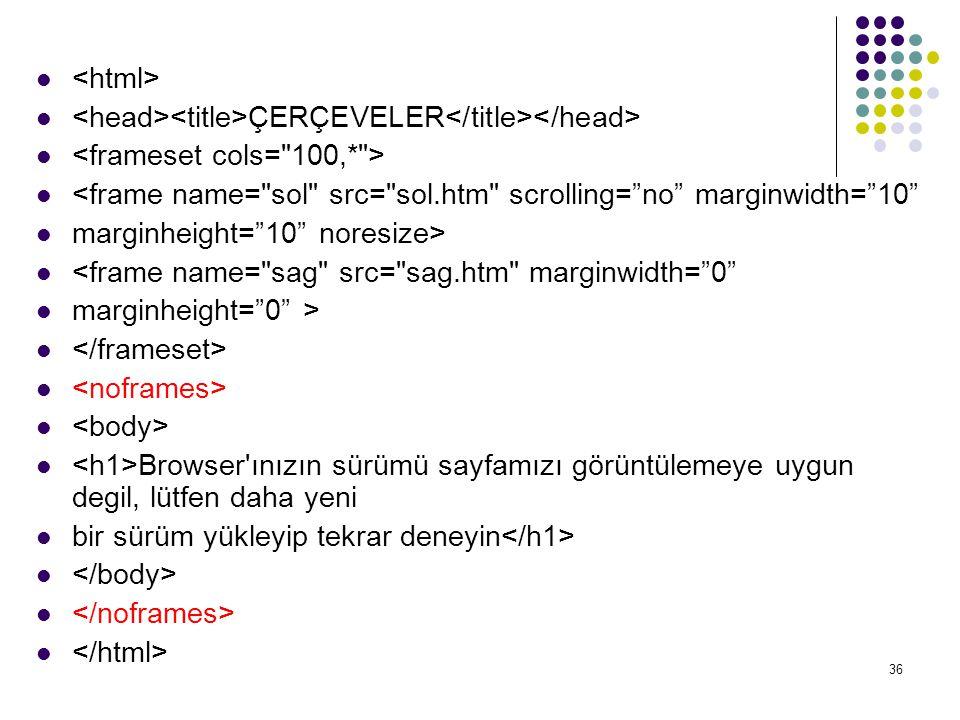 36 ÇERÇEVELER <frame name=